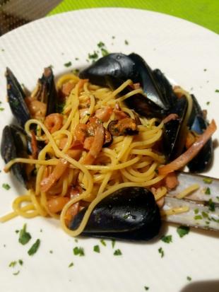 Seafood pasta in Corniglia.